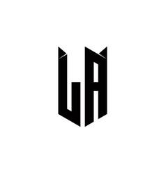 La logo monogram with shield shape designs vector