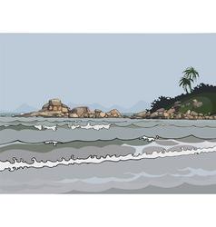 Landscape gray sea in the tropics vector