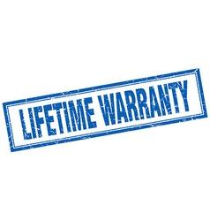 Lifetime warranty blue square grunge stamp on vector