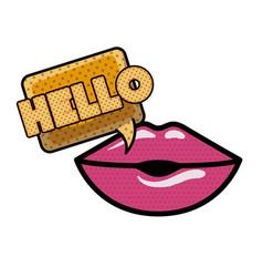 Lips saying hello avatar character vector