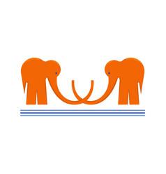 Logotype with two orange elephants with underlines vector
