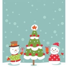 Loving couple of snowmen vector image