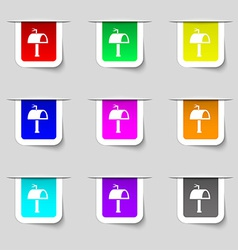 Mailbox icon sign Set of multicolored modern vector image