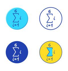 Math sequence icon set in flat and line style vector