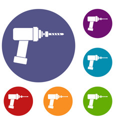 Medical drill icons set vector