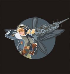 military pin-up vector image