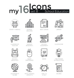 Modern thin line icons set of school education vector
