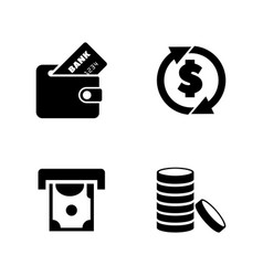 money coins and dollar simple related icons vector image