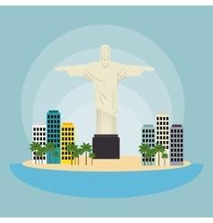 monument christ brazil urban landscape vector image