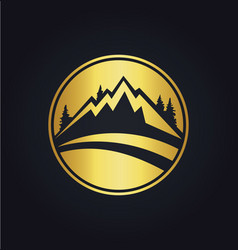Mountain icon round gold logo vector