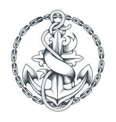 nautical tattoo with anchor and ribbon vector image
