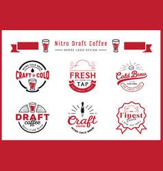 Nitro draft coffee badge logo design set vector