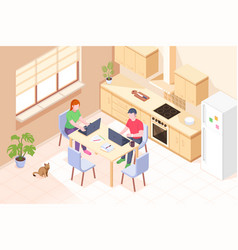 Online work couple work at home kitchen isometric vector
