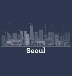 outline seoul korea skyline with white buildings vector image