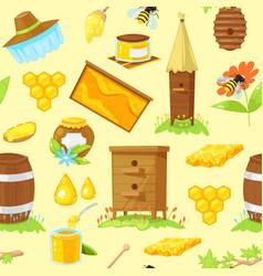 pattern cartoon elements beekeeping vector image