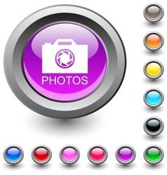 Photos round button vector image vector image