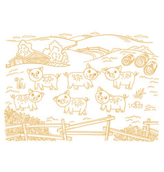 pig farm is livestock three cows in barnyard vector image