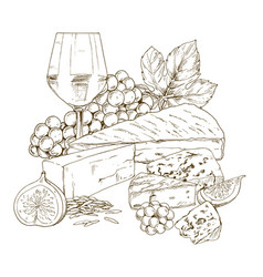 Pile of hand drawn cheese with glass of wine vector
