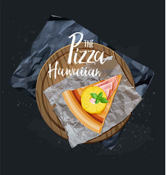pizza hawaiian slice without background vector image