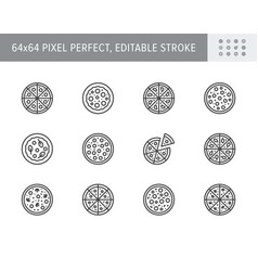 pizza line icons included vector image