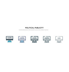 Political publicity on monitor screen icon in vector