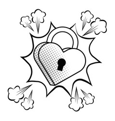 Pop art padlock heart shape in black and white vector