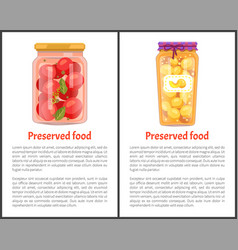 Preserved food banners with tomatoes and peaches vector