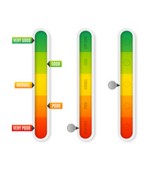 Realistic detailed 3d level indicator set vector