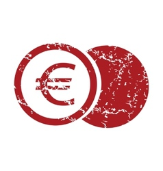 Red grunge euro coin logo vector image