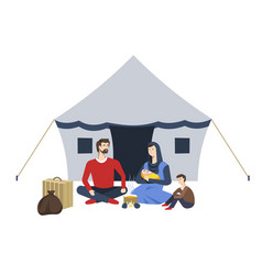 Refugees camp arab family and tent soup vector