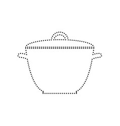 saucepan simple sign black dotted icon on vector image