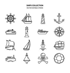sea collection ship and nautical icons in line vector image