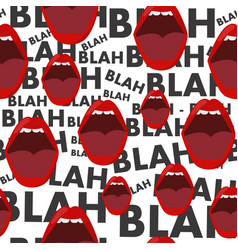 Seamless background with mouth and gossip blah vector