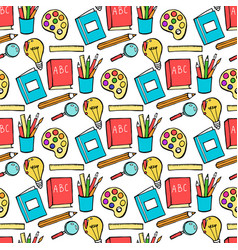 seamless colored back to school pattern with vector image