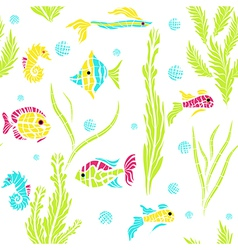 Seamless kids ocean fish background vector