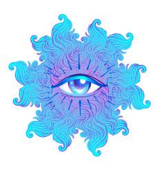 Seraphim with blue eye psychedelic hallucination vector