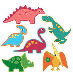 set cute bright dinosaurs patches vector image