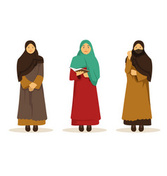 set of arab woman wearing traditional veil vector image