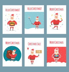 set of vintage christmas labels banners vector image