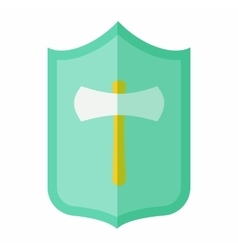 Shield with an axe icon flat style vector