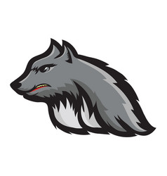 Silhouette werewolf head fairtale character of vector