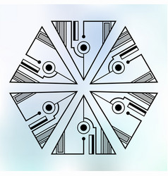 six symmetrically arranged triangles separated vector image