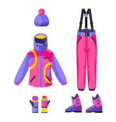Skiing snowboarding outfit - jacket pants vector