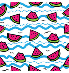 Slices of watermelon on cartoon waves background vector