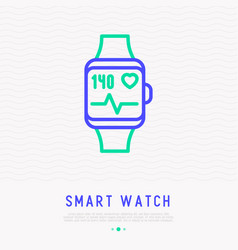 smart watch with pulse rate thin line icon vector image