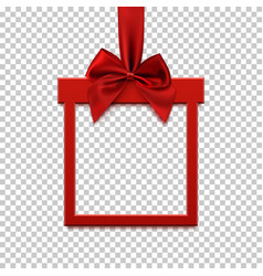 Square banner in form of gift with red ribbon and vector