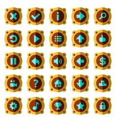 Steam punk flat game buttons vector