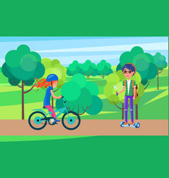 students teenagers on bike and hoverboard vector image