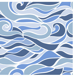 stylized waves and curves seamless pattern vector image