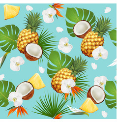 summer tropical seamless pattern with exotic vector image